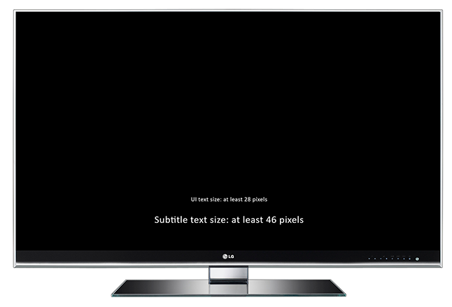 TV screen showing actual size of 28px and 46px text