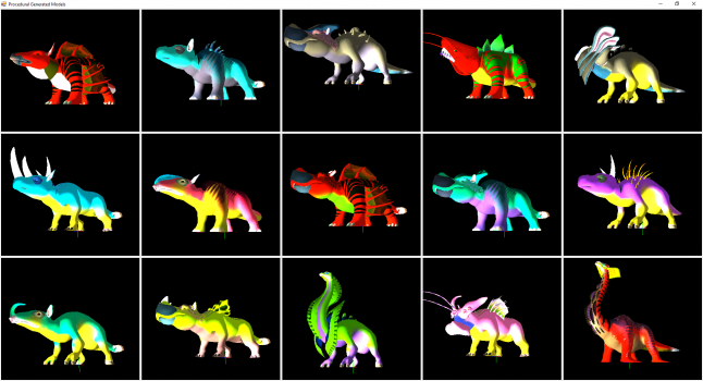 An example of randomly generated creatures using <i>No Man's Sky</i> assets in an external viewer.