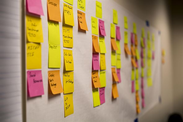 Columns of post-it notes