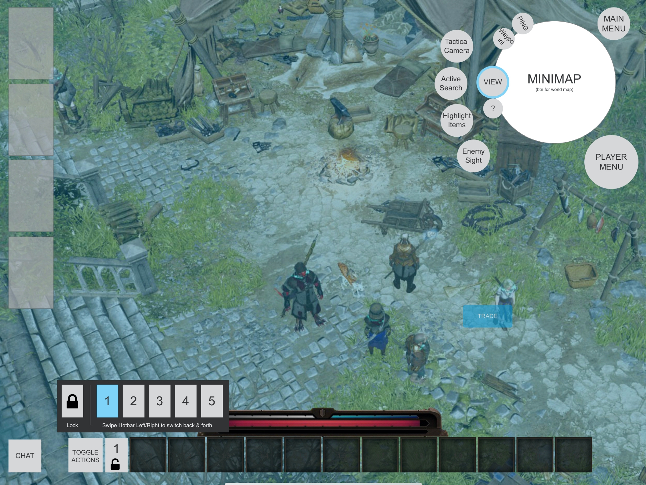 A screenshot with shapes blocked out for character portraits on the left side of the screen, a minimap in the upper right corner, and a quick access bar along the bottom.