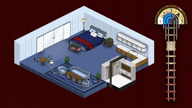 Isometric view of blue room with bed table living space and mini bar. Elevator and corresponding UI
