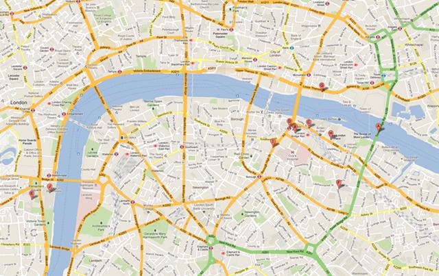 Central London, UK (google maps)