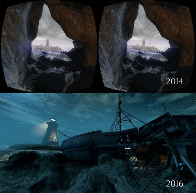 An old screenshot of the beach scene, compared to its radically redesigned final version