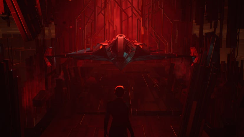 Art depicting a person standing in a dim, red-lit futuristic hangar with their back toward the viewer as they look at a spaceship.