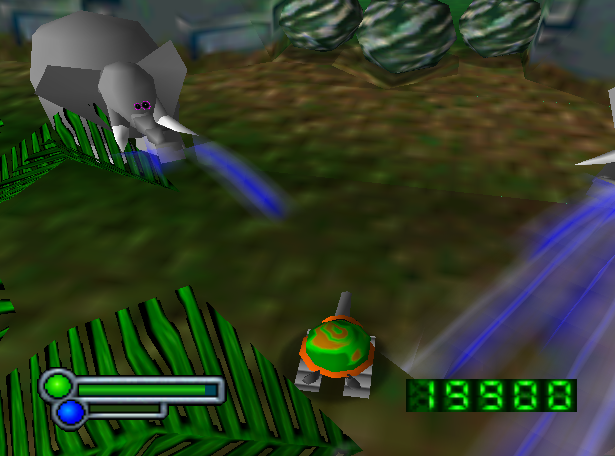 The dynamic enemy AI means each animal reacts differently to those that come close to it. In this case: elephants don't like tortoises.