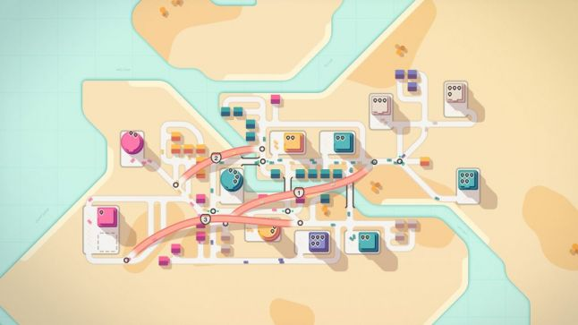 A mini motorways level featuring a growing town bisected by a river.