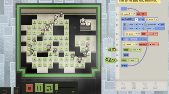 A screenshot from the game 7 Billion Humans depicting a group of office workers standing by numbers, with a programming console to the right.