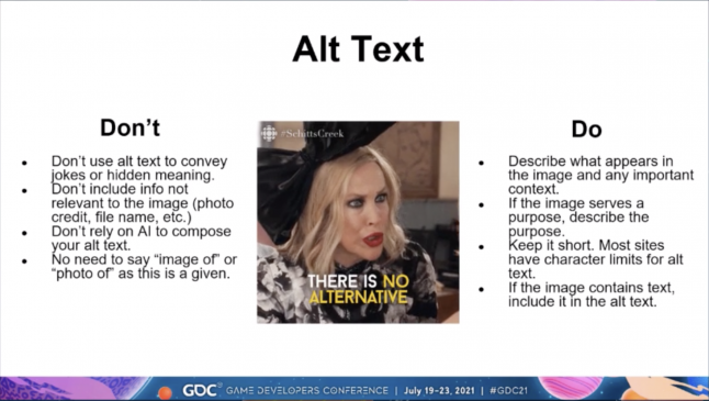 A list of do's and don'ts for writing image alt text, with an image of the character Moira Rose in the center. The Don't column says not to include excessive information or hidden jokes, the do column says to clearly describe content and keep alt text short.