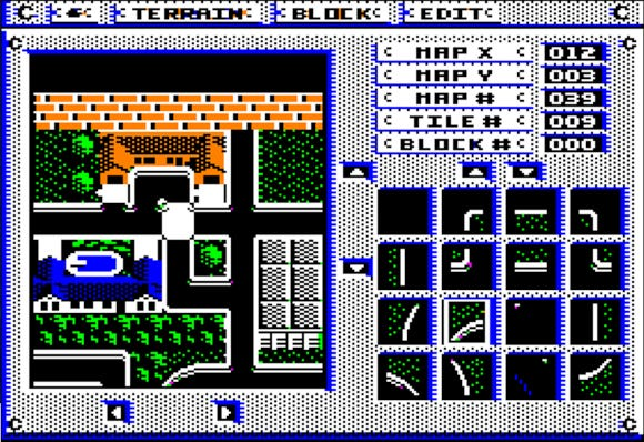 A screenshot from the game Omega, depicting a vintage graphical rendering of a city with building tiles.