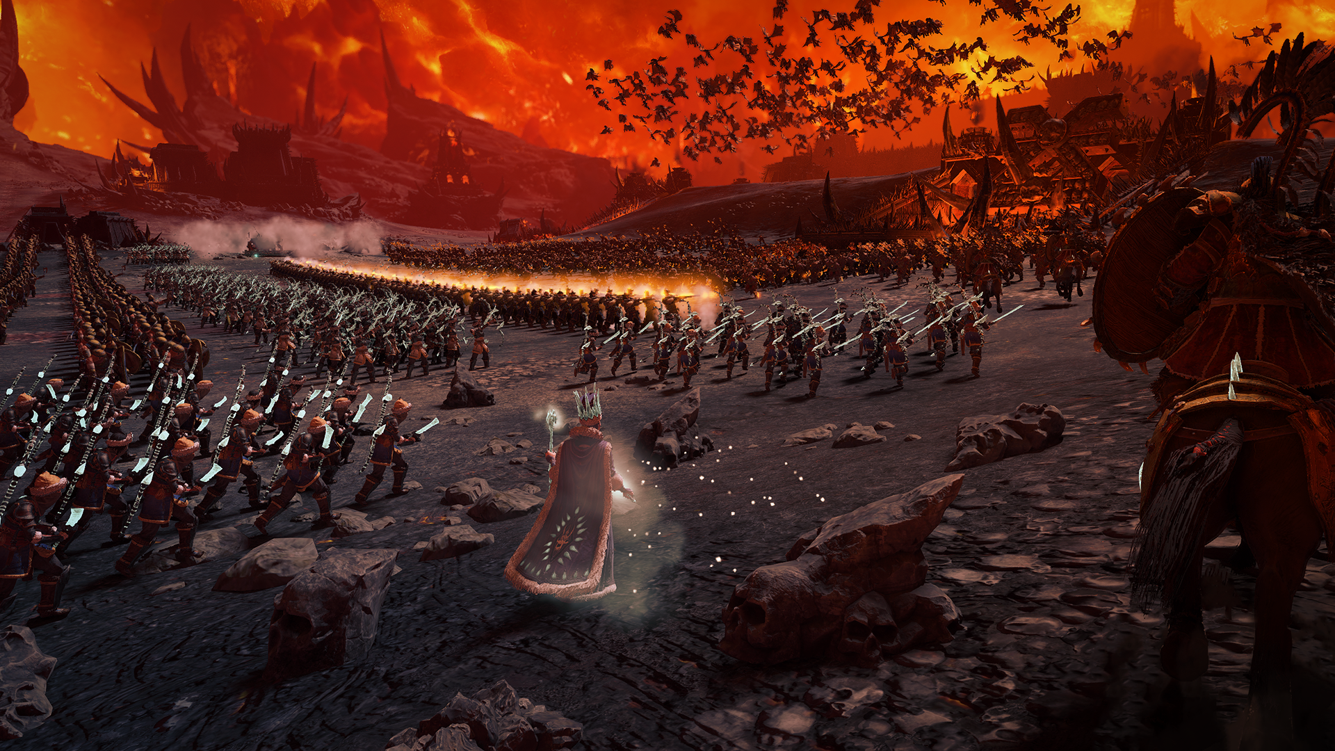 An army advances at a enemy fortress in a firey landscape.