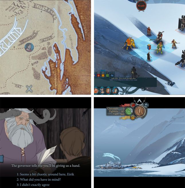 Banner Saga - four different game play contexts