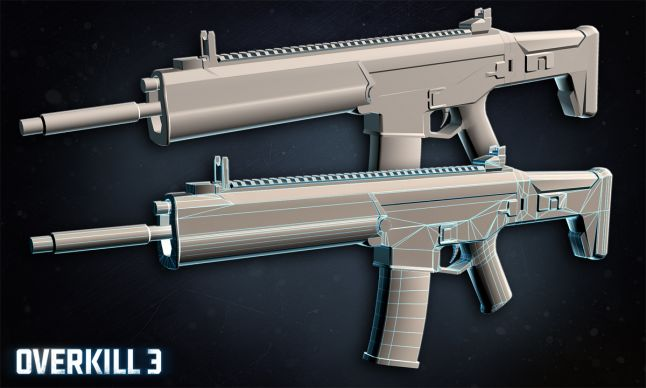 Overkill 3 - ACR rifle in low poly and hi-poly