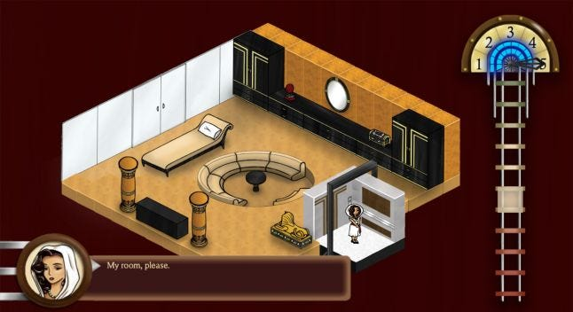 Isometric view of Egyptian themed room. Princess character on elevator. Dialogue box UI and headshot