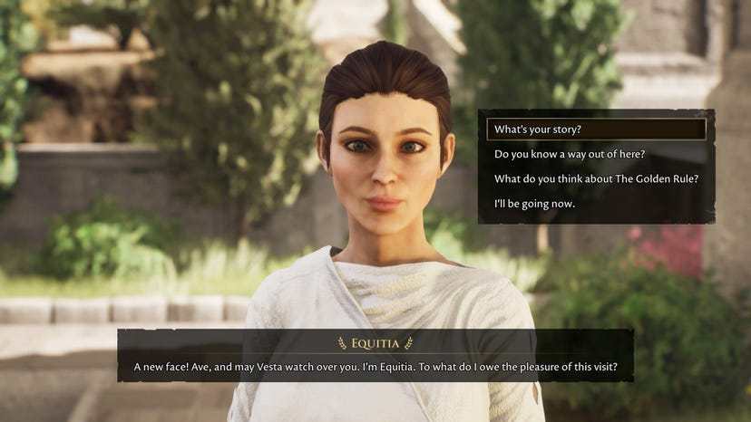 The NPC Equita greets the player. A dialogue box shows the response options, which include asking for more information about her, asking about a way out of the area, asking about the golden rule, or leaving the convesation.