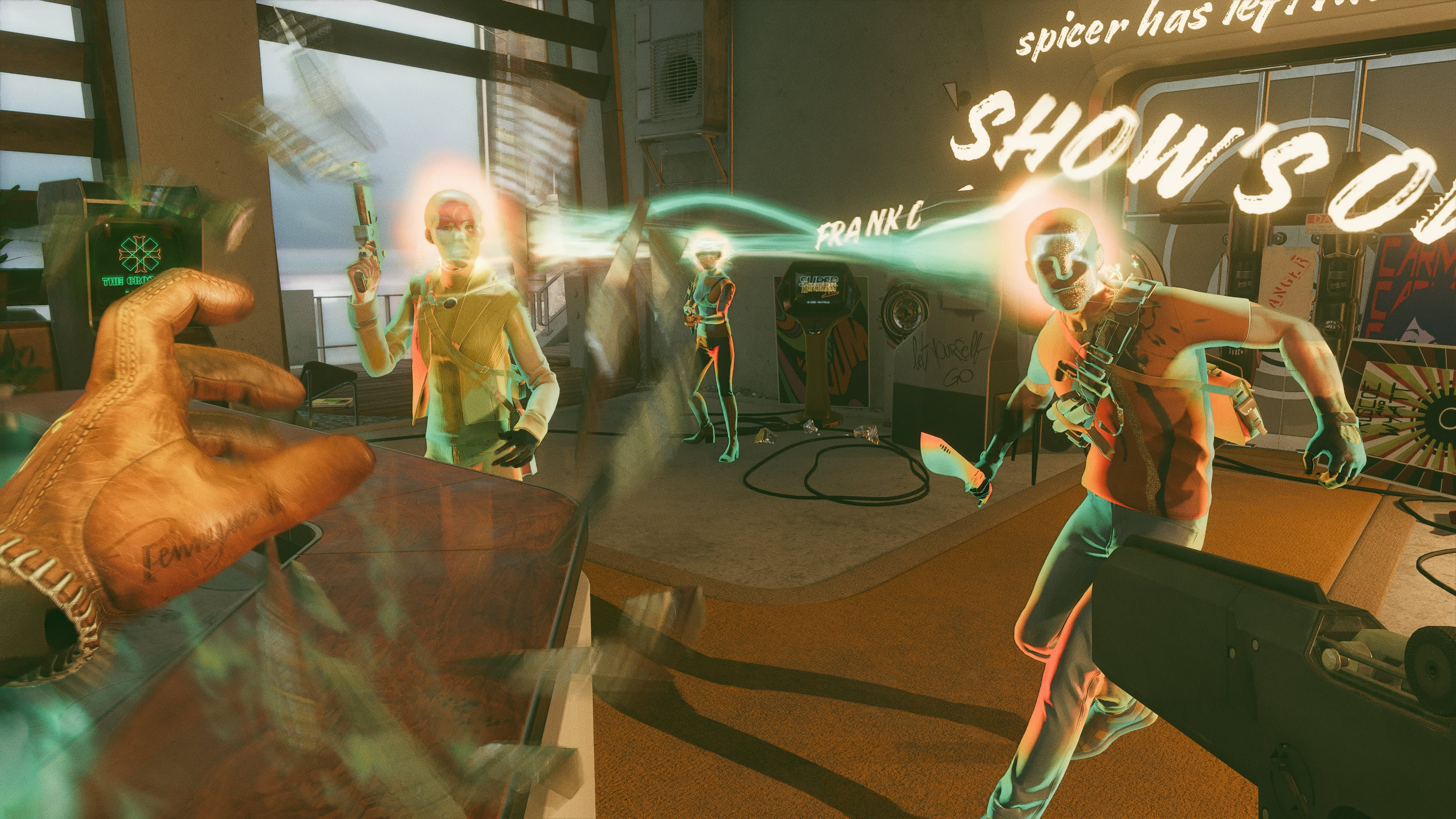 A first-person perspective screenshot of Deathloop. Three hostile enemies are connected by a glowing line. The text 'Shows Over' glows on a wall behind them.