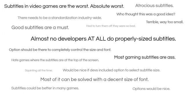 A selection of negative opinions on subtitles in games, largely around text size and lack of configuration options