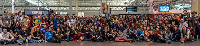 The Indie MEGABOOTH crew at PAX East 2014.
