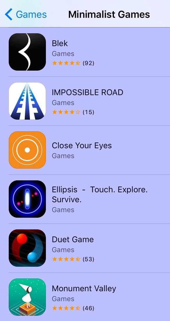 Minimalist games