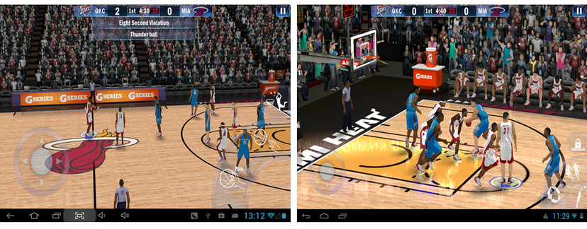 An example of a popular basketball game running on very similar devices but displaying different levels of effects
