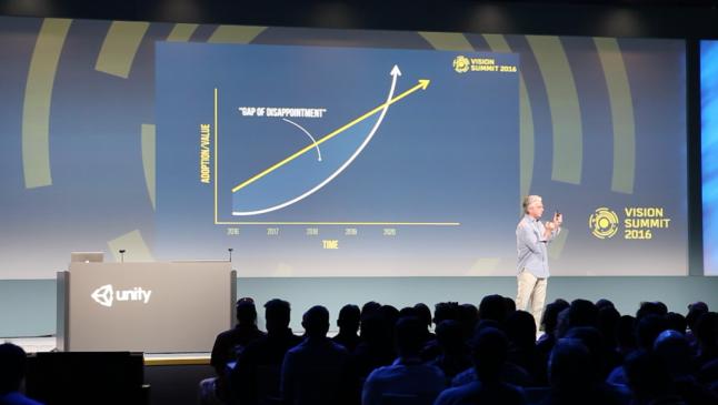 "Unity CEO John Riccietello explain the ""Gap of disappointment"" (Source VR Sout)"