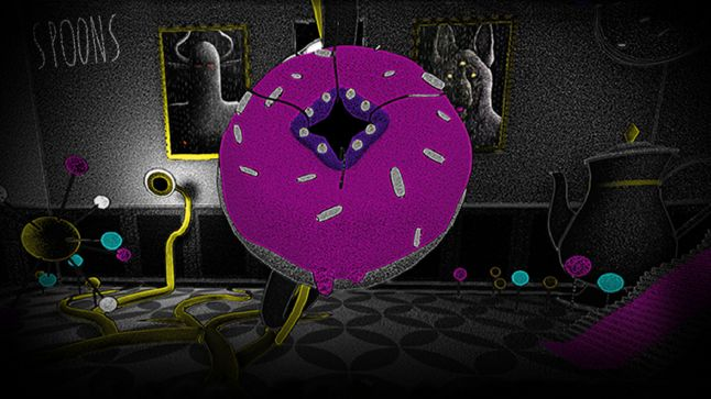First room of Spoons, the player has to feed the ravenous donut-monster