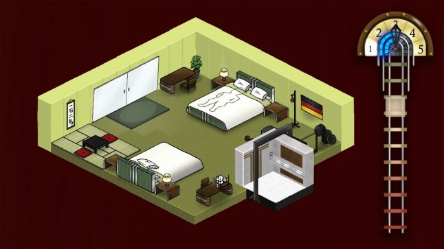 Isometric view a green room with two beds night stands and belongings. Elevator and corresponding UI