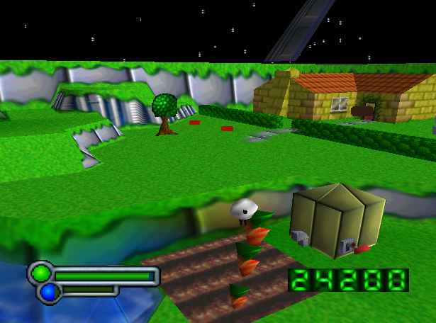 Note the red blocks in the distance – as the sheep gets closer the polygon models will change to become fully detailed red foxes.