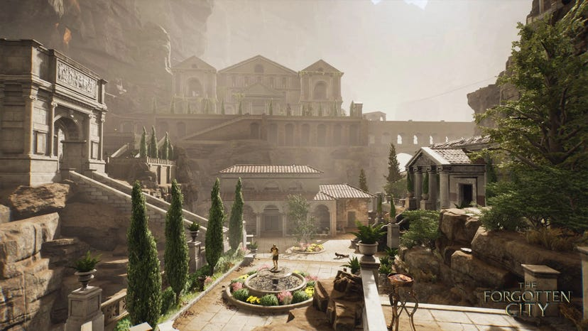 A Forgotten City screenshot showing trees and a fountain in the center of a Roman cityscape.