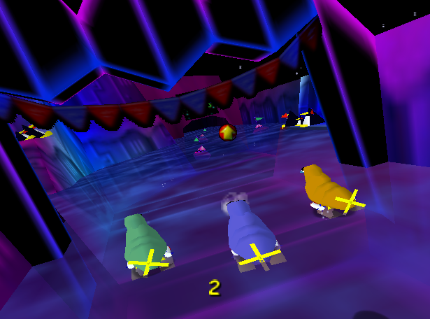 This level is called Walrus Race 64 – no points for guessing which N64 game it was inspired by.