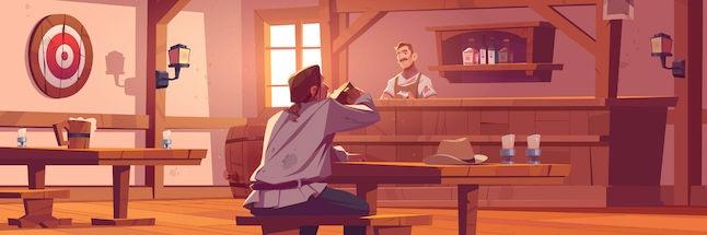 Cartoonish illustration of a medieval tavern's interior.