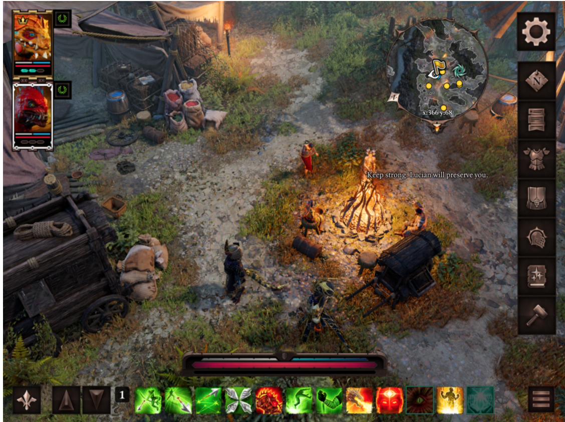 A screenshot showing an updated UI with smaller buttons and more clearly presented health bars and menu options along the edges of the frame.