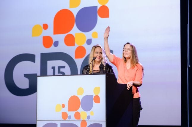 Game industry veterans Brenda Romero (UCSC/Romero Games) and Laura Fryer (Oculus VR) officially open GDC 2015 with the rapid-fire Flash Forward highlight session.