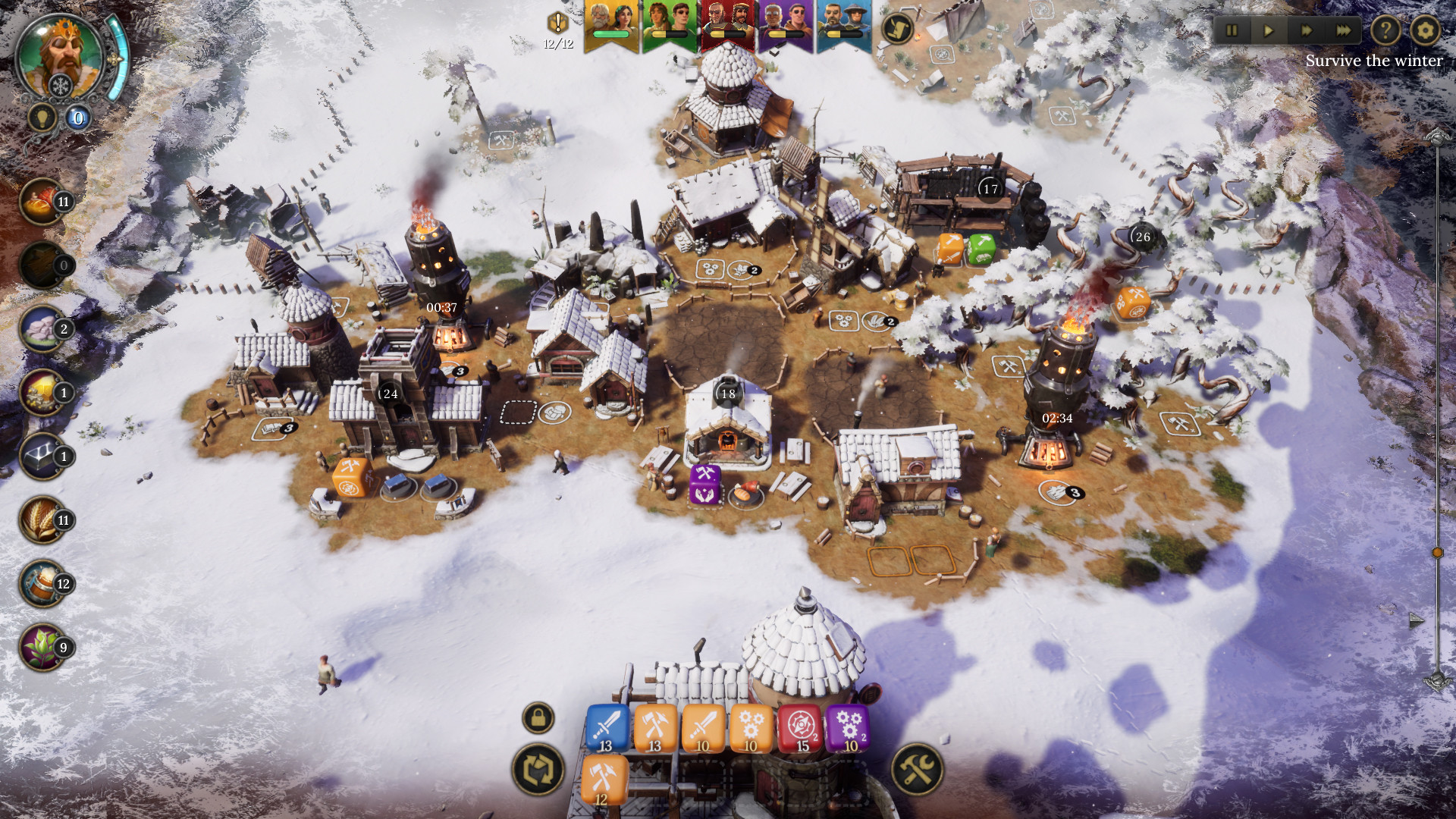 A top down view of a small settlement during winter in Dice Legacy.
