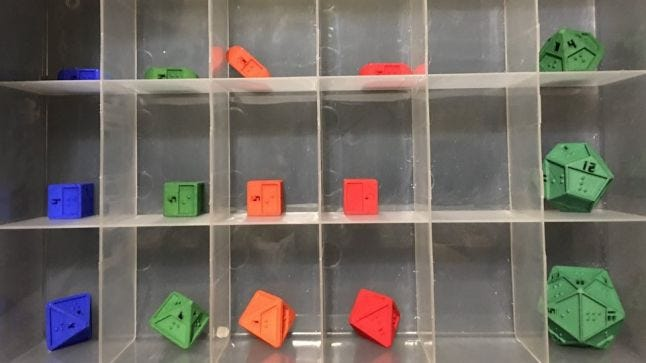 A set of braille dice