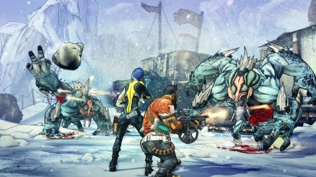 Players combine forces to take on a pair of 'Bullymongs' in Borderlands 2. Source: http://gearboxsoftware.com