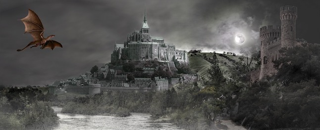 Fantasy illustration, showing a castle and a dragon flying towards it.