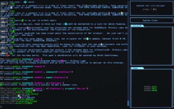 A screenshot from the game hackmud, depicting an old graphical chat interface.