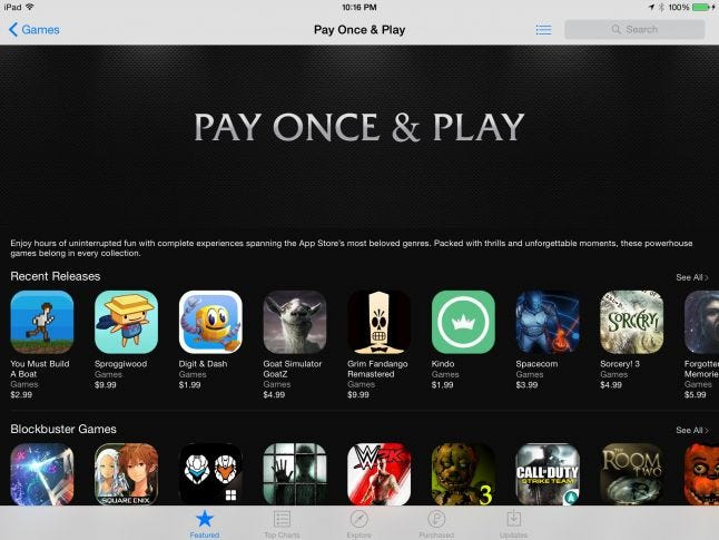 Pay Once & Play feature on the App Store