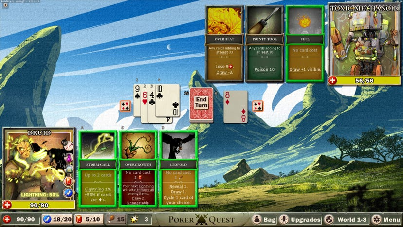 A combat encounter betweena Druid and a Robot from Poker Quest. A spread of playing cards is in the center of the screen, with poker hand-based abilities for the player and monster displayed at the top and bottom of the screen respectively.