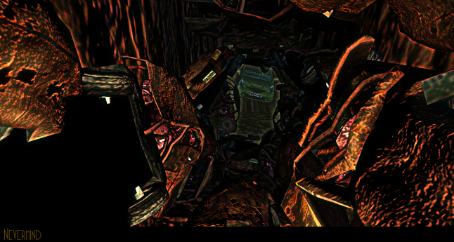 A screen shot from the maze from Nevermind