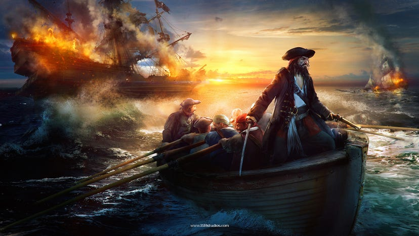A pirate captain stands at the head of a rowboat as his crew rows away from a burning ship in the background.