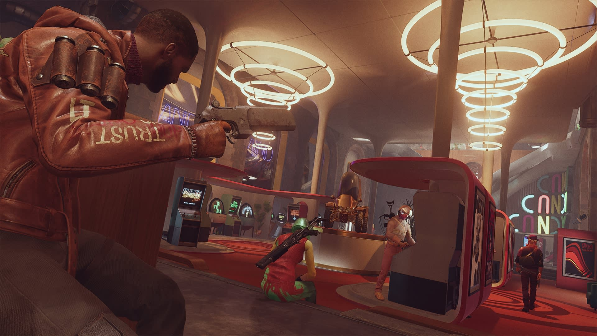 Deathloop Screenshot. Colt stealthily approaches a group of mask-wearing enemies in a sylized 1960s inspired arcade.