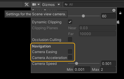 unity camera easing and acceleration