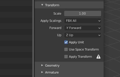 exporting from blender settings