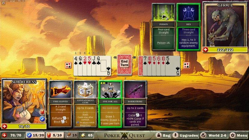 A combat encounter between a Sorceress and a Ghoul from Poker Quest. A spread of playing cards is in the center of the screen, with poker hand-based abilities for the player and monster displayed at the top and bottom of the screen respectively.