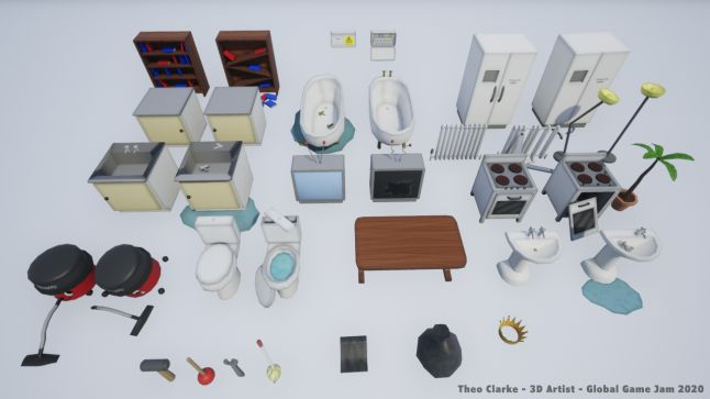 3D assets I created for Handy Jobs, made in Unreal Engine in 48 hours for Global Game Jam 2020 in January