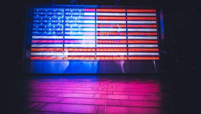 US flag in neon lights