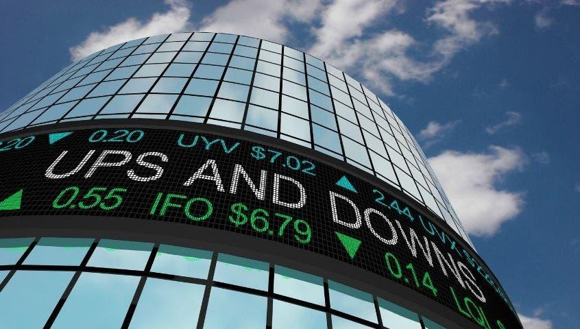 Skyscraper glass windows stock tickers
