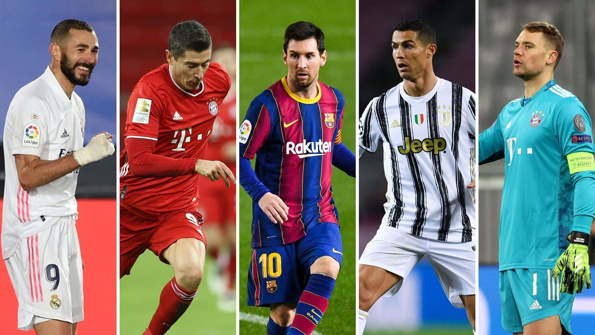 Benzema, Lewandowski, Messi, Cristiano Ronaldo y Neuer (Real Madrid, Bayern, Barcelona, Juventus y Bayern)